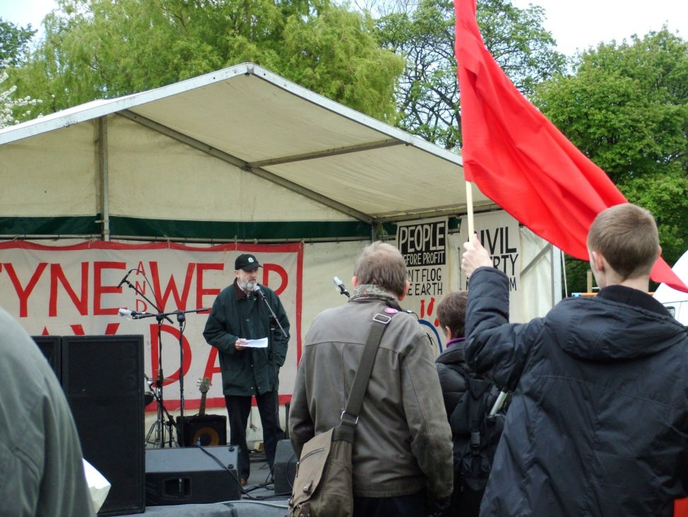 Roger Nettleship addressing May Day Rally